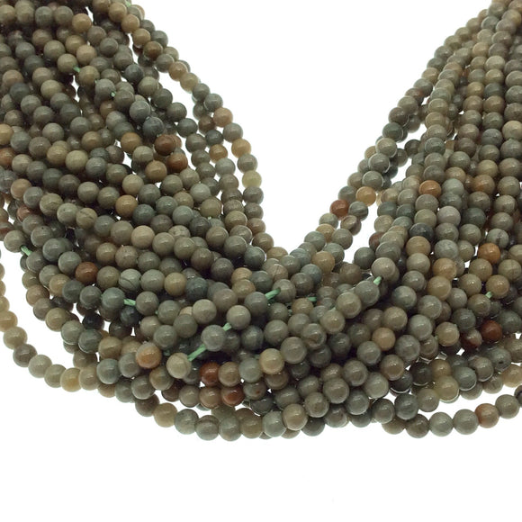 2mm Smooth Glossy Finish Natural Green/Cream/Tan Heena Jasper Round/Ball Shape Beads W .4mm Holes -  15.25