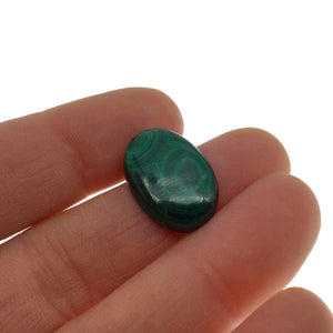OOAK Genuine Malachite Oblong/Oval Shaped Flat Backed Cabochon - Measuring 14mm x 20mm, 4.5mm Dome Height - Natural High Quality Cab
