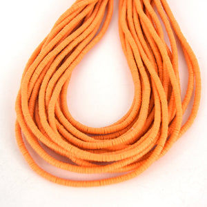 4mm African Bright Orange Vinyl Heishi Beads (Approx. 600 Beads)
