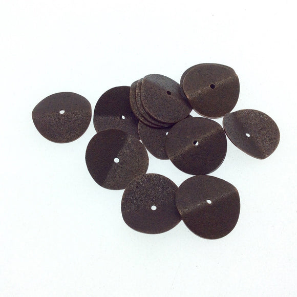 18mm Textured Antique Plated Copper Wavy Disc/Heishi Washer Shaped Components - Sold in Bulk Packs of 25 Pieces - Great as Bracelet Spacers!