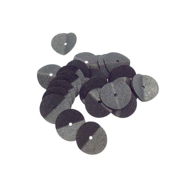 14mm Textured Gunmetal Plated Copper Wavy Disc/Heishi Washer Shape Components - Sold in Bulk Packs of 25 Pieces - Great as Bracelet Spacers!