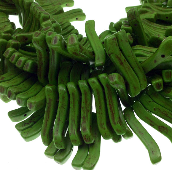 Bright Green Howlite Double-Drilled Wavy Stick Beads - 16.5