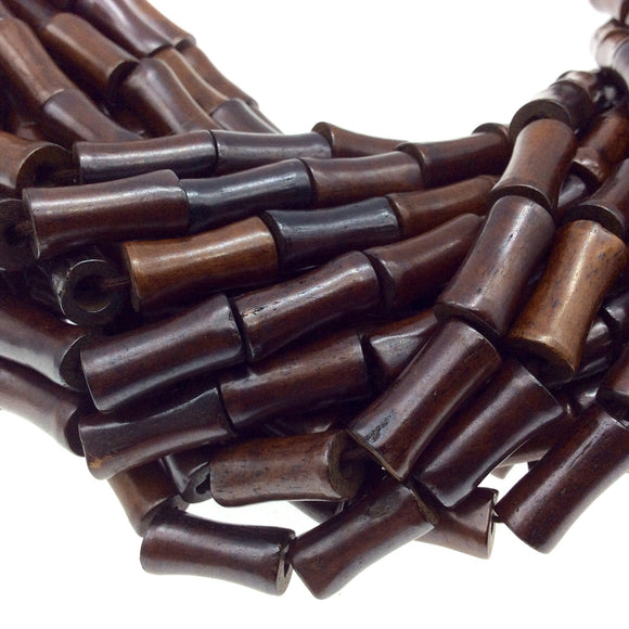 8mm x 17mm Warm Brown Color Smooth Ox Bone Flared Barrel Beads with 3mm Holes - 15