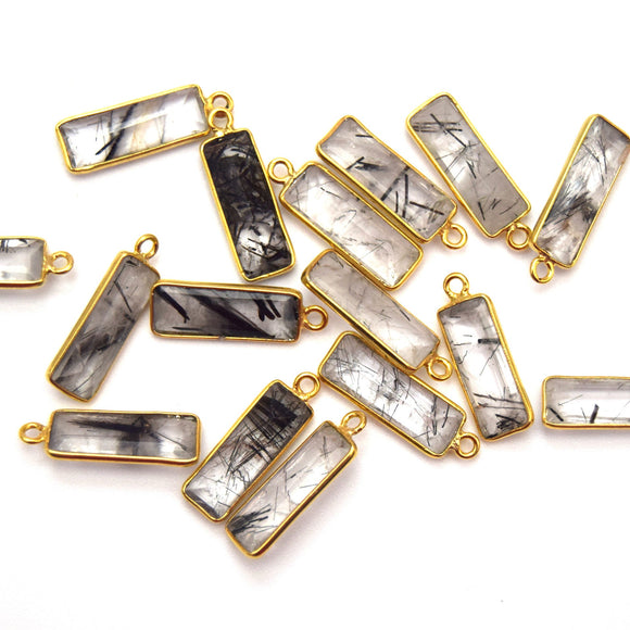 Gold Vermeil Faceted Cut Stone Rectangle Shaped Black Rutilated Quartz Bezel Pendant- Measuring 5mm x 15mm - Sold Per Piece