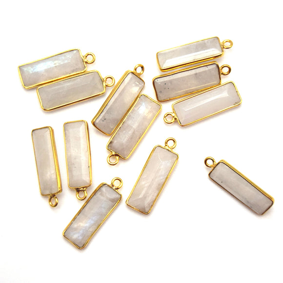 Gold Vermeil Faceted Cut Stone Rectangle Shaped Rainbow Moonstone Bezel Pendant - Measuring 5mm x 15mm - Sold Per Piece