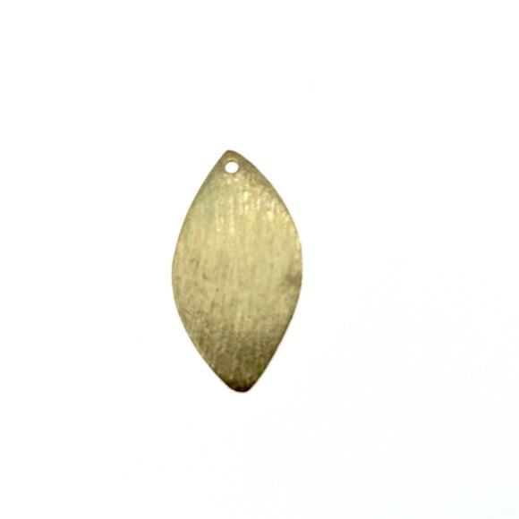 Beadlanta Rich Gold Finish - 11mm x 22mm Gold Brushed Finish Blank Marquise Shaped Plated Copper Components - Sold in Packs of 2