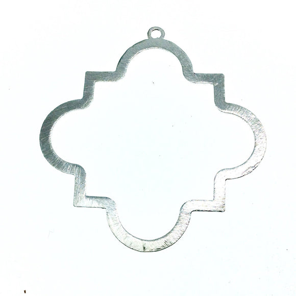 60mm Silver Brushed Finish Open Squared Quatrefoil Shaped Plated Copper Pendant Components Two Rings - Sold in Packs of 4 - (603-SV)