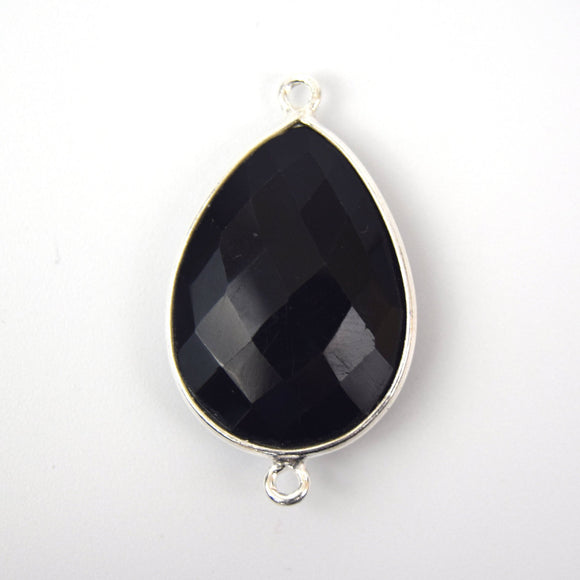 Silver Plated Faceted Hydro (Lab Created) Jet Black Onyx Pear/Teardrop Shaped Bezel Pendant - Measuring 18mm x 25mm - Sold Individually