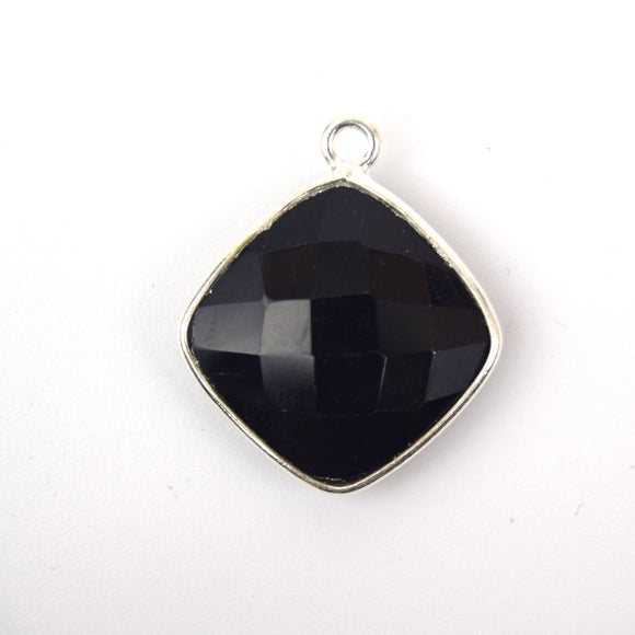 Silver Plated Faceted Hydro (Lab Created) Jet Black Onyx Diamond Shaped Bezel Pendant - Measuring 20mm x 20mm - Sold Individually