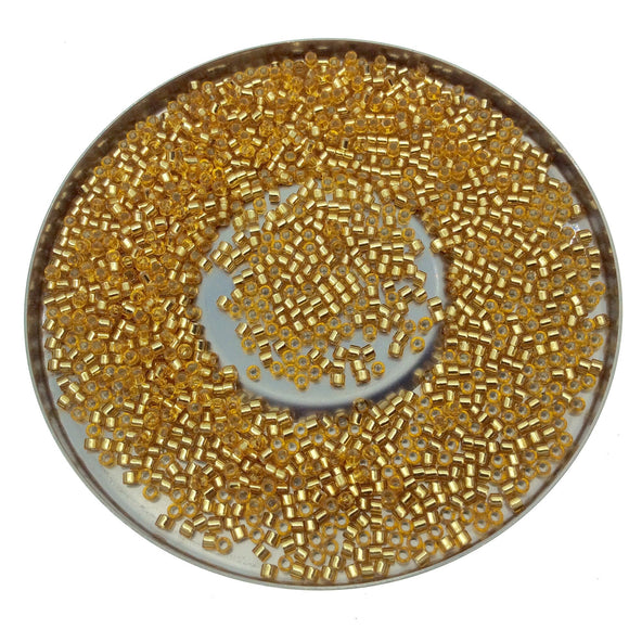 Size 11/0 Glossy Silver Lined Gold Genuine Miyuki Delica Glass Seed Beads - Sold by 7.2 Gram Tubes (Approx. 1300 Beads per 2