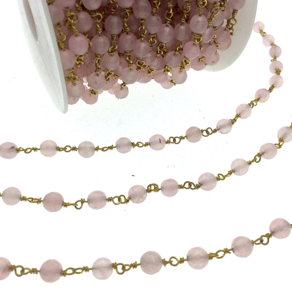 Gold Plated Copper Wrapped Rosary Chain with 6mm Faceted Pink Agate Round Shaped Beads - Sold by the foot!