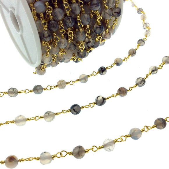 Gold Plated Copper Wrapped Rosary Chain with 6mm Faceted Dragon Vein Agate Round Shaped Beads - Sold by the foot!
