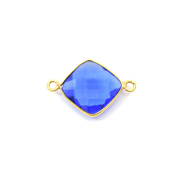 Gold Plated Faceted Hydro (Lab Created) Transparent Cobalt Diamond Shaped Bezel Connector - Measuring 17mm x 17mm - Sold Individually