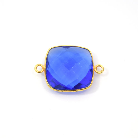 Gold Plated Faceted Hydro (Lab Created) Transparent Cobalt Square Shaped Bezel Connector - Measuring 18mm x 18mm - Sold Individually
