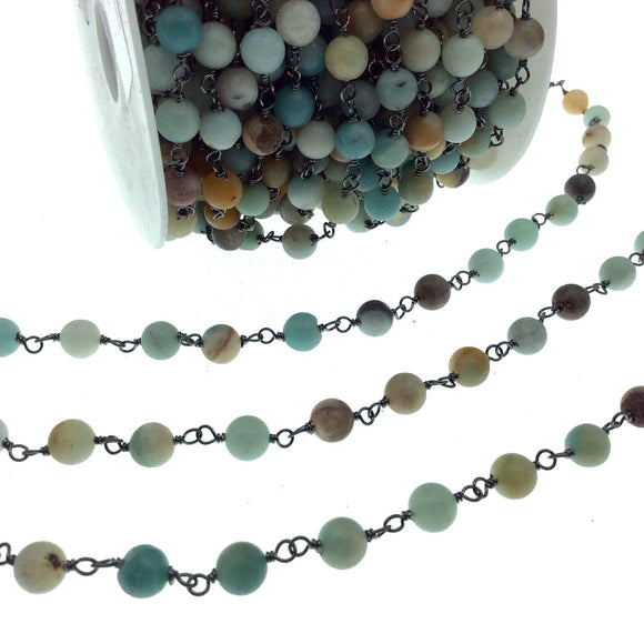 Gunmetal Plated Copper Wrapped Rosary Chain with 6mm Smooth Natural Mixed Amazonite Round Shaped Beads - Sold by the Foot!
