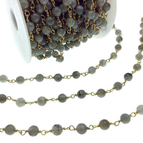 Gold Plated Copper Wrapped Rosary Chain with 6mm Faceted Natural Iridescent Labradorite Round Shaped Beads - Sold by the foot! (CH317-GD)