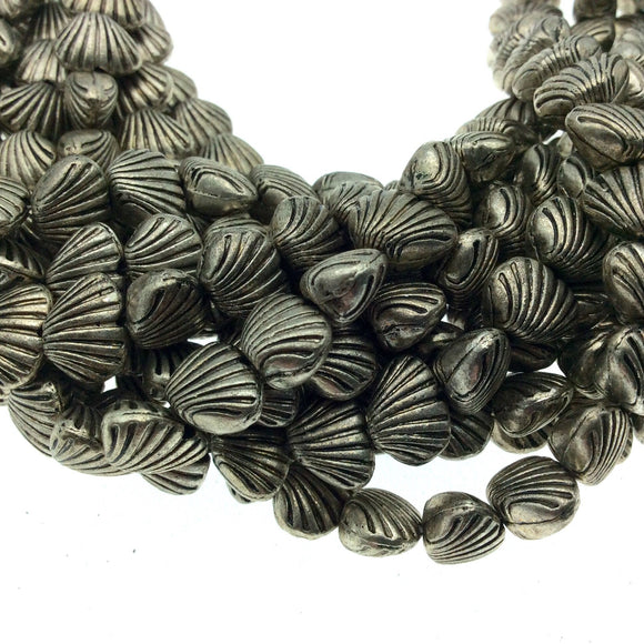 Silver Finish Puffed Sea Shell Shaped Pewter Beads - 8
