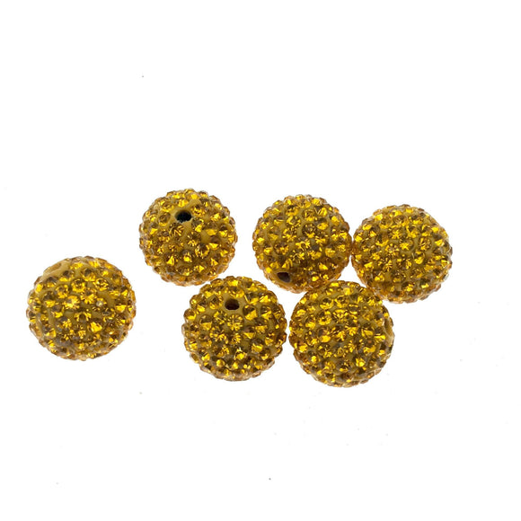 14mm Yellow Gold CZ Cubic Zirconia Inlaid Round Shaped Bead with 2mm Holes - Sold Individually - Other Colors Available!