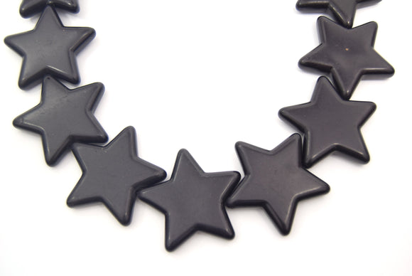 42mm Jet Black Howlite Star Shaped Beads with 1mm Holes - (Approx. 16.5