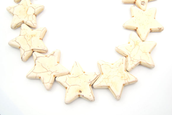 42mm Smooth Brown Veined Ivory Howlite Star Shaped Beads with 1mm Holes - (Approx. 15