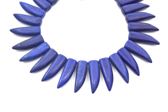 31mm Indigo Purple Howlite Bullet/Tusk Shaped Beads with 1mm Holes - (Approx. 15.5