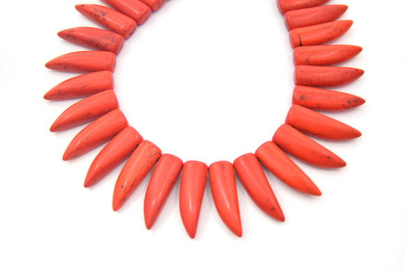 31mm Burnt Orange Howlite Bullet/Tusk Shaped Beads with 1mm Holes - (Approx. 15