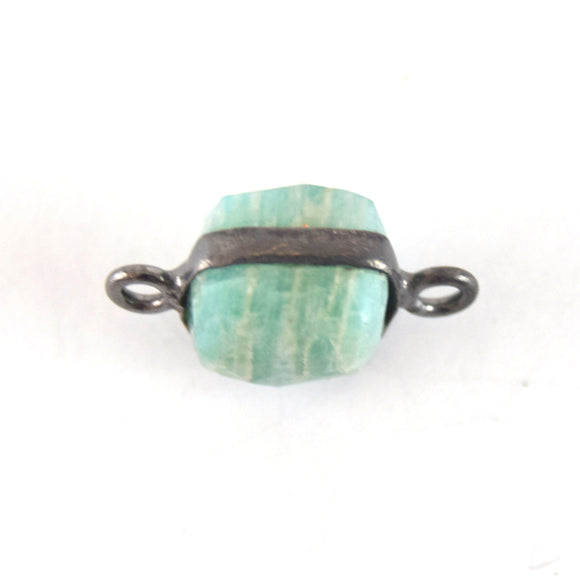 8mm Gunmetal Faceted Natural Minty Green/Blue Amazonite Cube/Square Shaped Plated Copper Bezel Connector