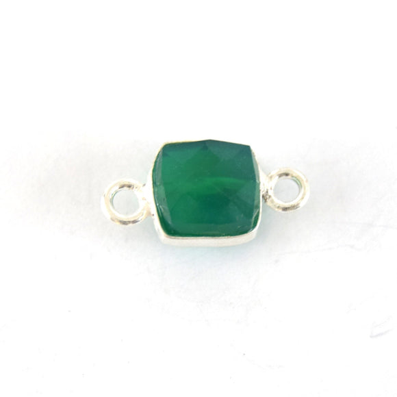 7-8mm Silver Finish Faceted Green Onyx Cube/Square Shaped Plated Copper Bezel Connector