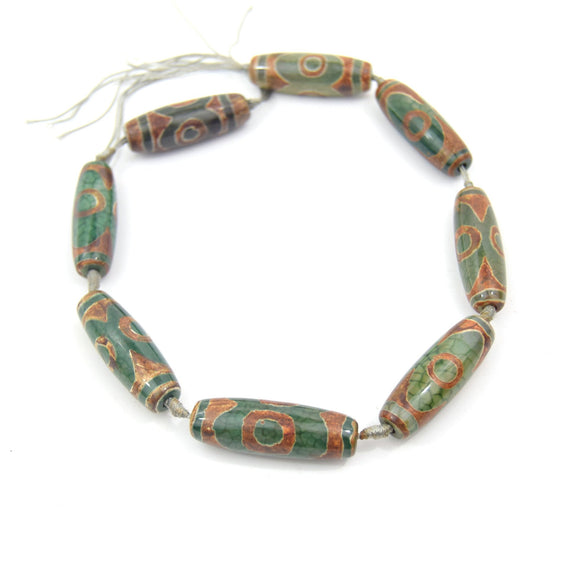 40mm Natural Eye Spotted Brown/Green Tibetan Agate Tube/Barrel Shaped Beads - (Approx. 15