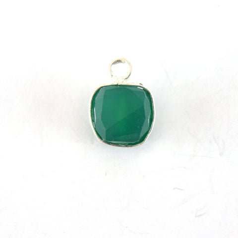 Silver Finish Faceted Green Onyx Cube/Square Shaped Plated Copper Bezel Pendant - Measuring 7-8mm - Natural Gemstone - Sold Individually