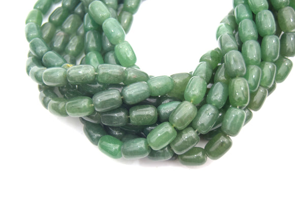 14mm Smooth Natural Green Aventurine Tube Shaped Beads - (Approx. 15.5