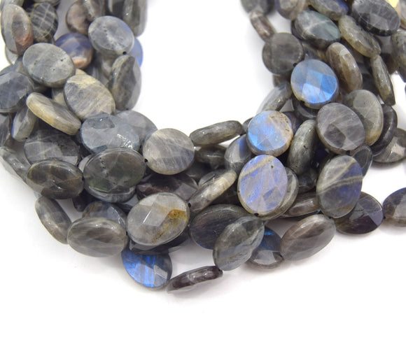 20mm Natural Gray Labradorite Faceted Oval Shaped Beads - (Approx. 15
