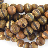 10mm Matte Striped Round Reddish Brown/Gray Colored Tibetan Agate Beads - Semi-Precious Gemstone!