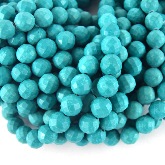 12mm Faceted Reconstituted Turquoise Round Beads - Sold by 14.5