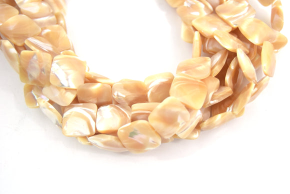 14mm Smooth Pearly White/Cream Abalone Mother of Pearl Square Shaped Beads - (Approx. 16
