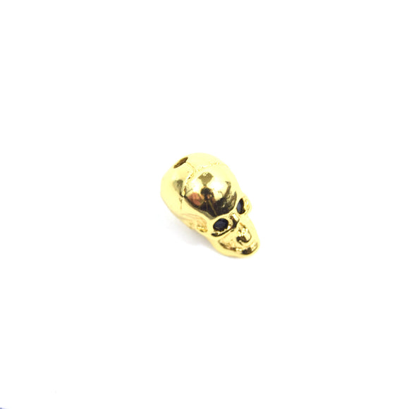 Gold Plated Cubic Zirconia Inlaid Skull Shaped Bead With Black CZ Eyes - Measures ~ 10mm x 13mm