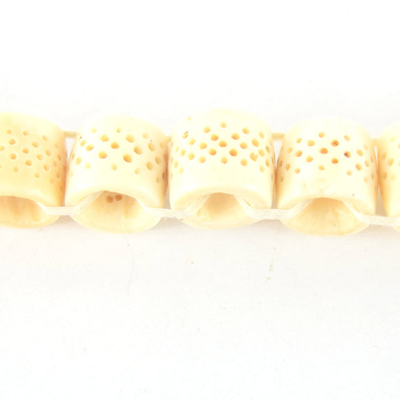 16mm x 18mm  Handcrafted Artistic Barrel Bone Beads - Ivory with Dotted Design