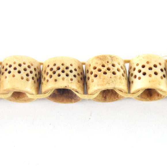 16mm x 18mm  Handcrafted Artistic Barrel Bone Beads - Light Brown with Dotted Design