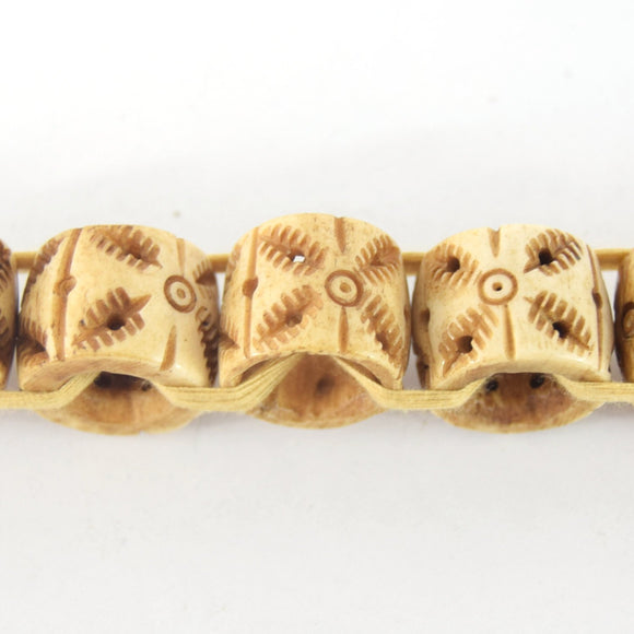 16mm x 18mm  Handcrafted Artistic Barrel Bone Beads - Light Brown with Tribal Design