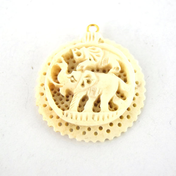38mm x 40mm - White/Ivory - Hand Carved Elephants- Round Shaped Natural Ox Bone Pendant