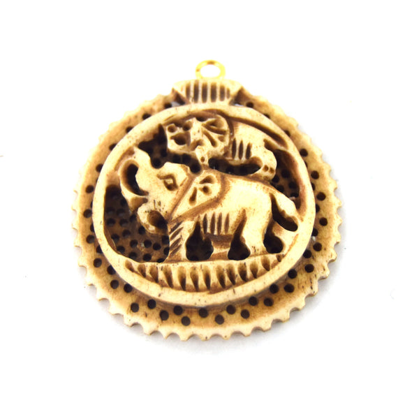 38mm x 40mm - Light Brown - Hand Carved Elephants - Round Shaped Natural Ox Bone Pendant