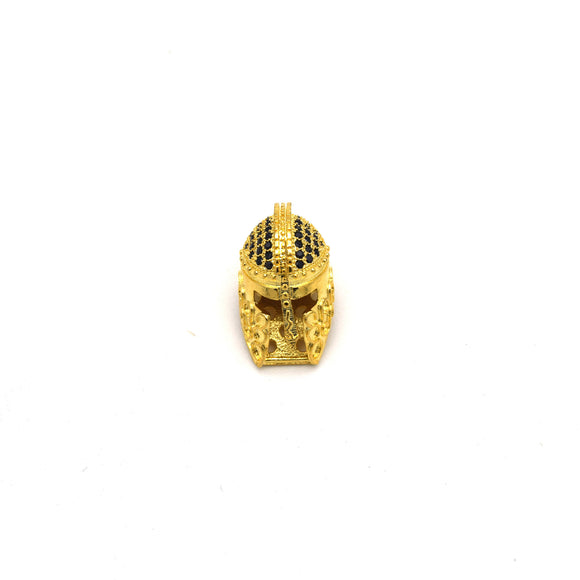 10mm x 20mm Gold Plated Cubic Zirconia Spartan Helmet Shaped Bead with Black Inlaid CZ