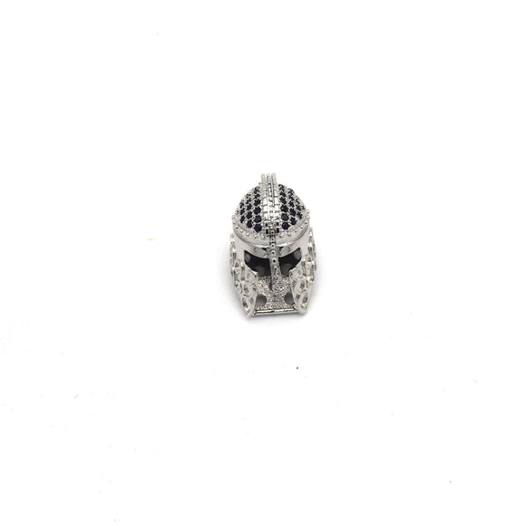 10mm x 20mm Silver Plated Cubic Zirconia Spartan Helmet Shaped Bead with Black Inlaid CZ