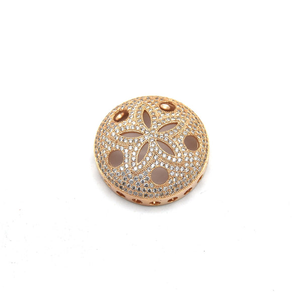26mm Rose Gold Plated White CZ Cubic Zirconia Inlaid Flower/Star Open Round/Coin Shaped Slider
