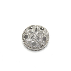 26mm Silver Plated White CZ Cubic Zirconia Inlaid Flower/Star Open Round/Coin Shaped Slider