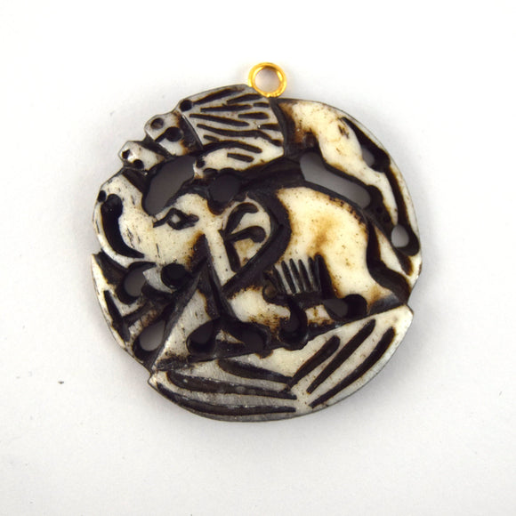 38mm x 40mm - White and Black - Hand Carved Elephant and Lion - Round Shaped Natural Ox Bone Pendant