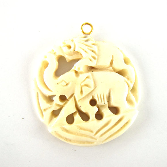 38mm x 40mm - White/Ivory - Hand Carved Elephant and Lion - Round Shaped Natural OxBone Pendant