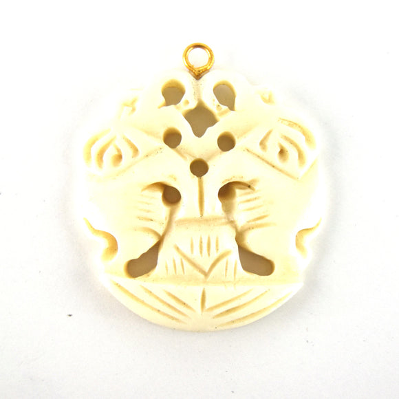 38mm x 40mm - White/Ivory - Hand Carved Dual Elephants- Round Shaped Natural OxBone Pendant