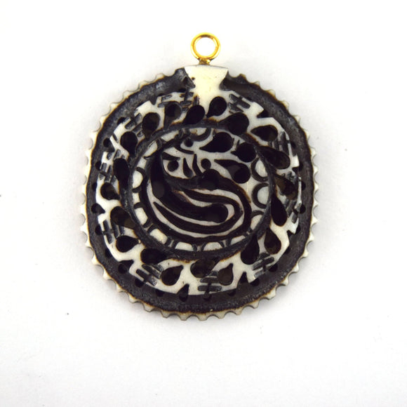 38mm x 40mm - White and Black - Hand Carved Serpant - Round Shaped Natural Ox Bone Pendant