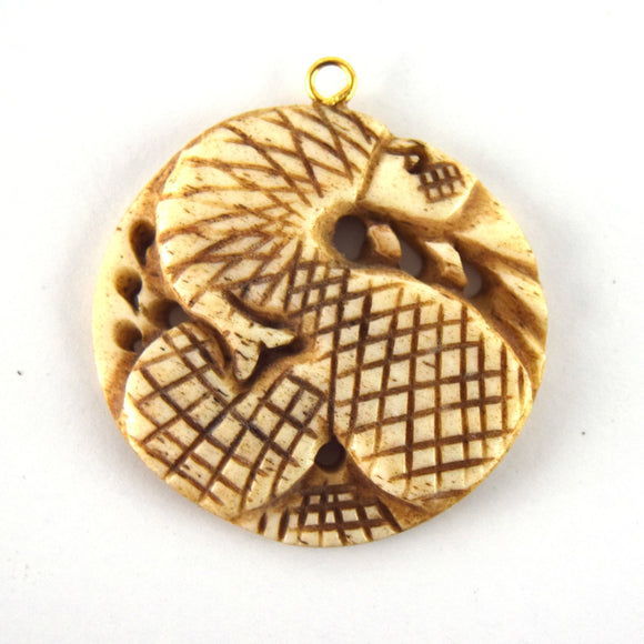 38mm x 40mm - Light Brown - Hand Carved Coiled Snake - Round Shaped Natural OxBone Pendant